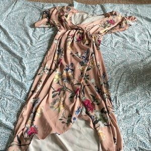 Maternity floral pink dress